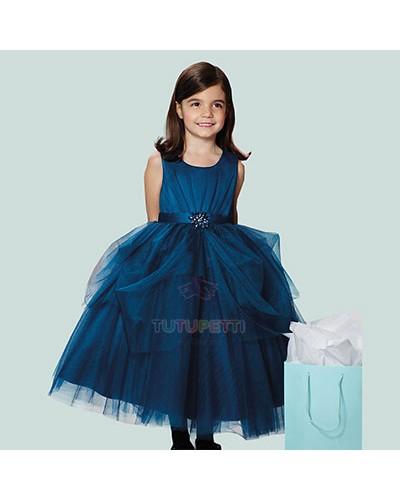 váy đầm dự tiệc bé gái màu xanh