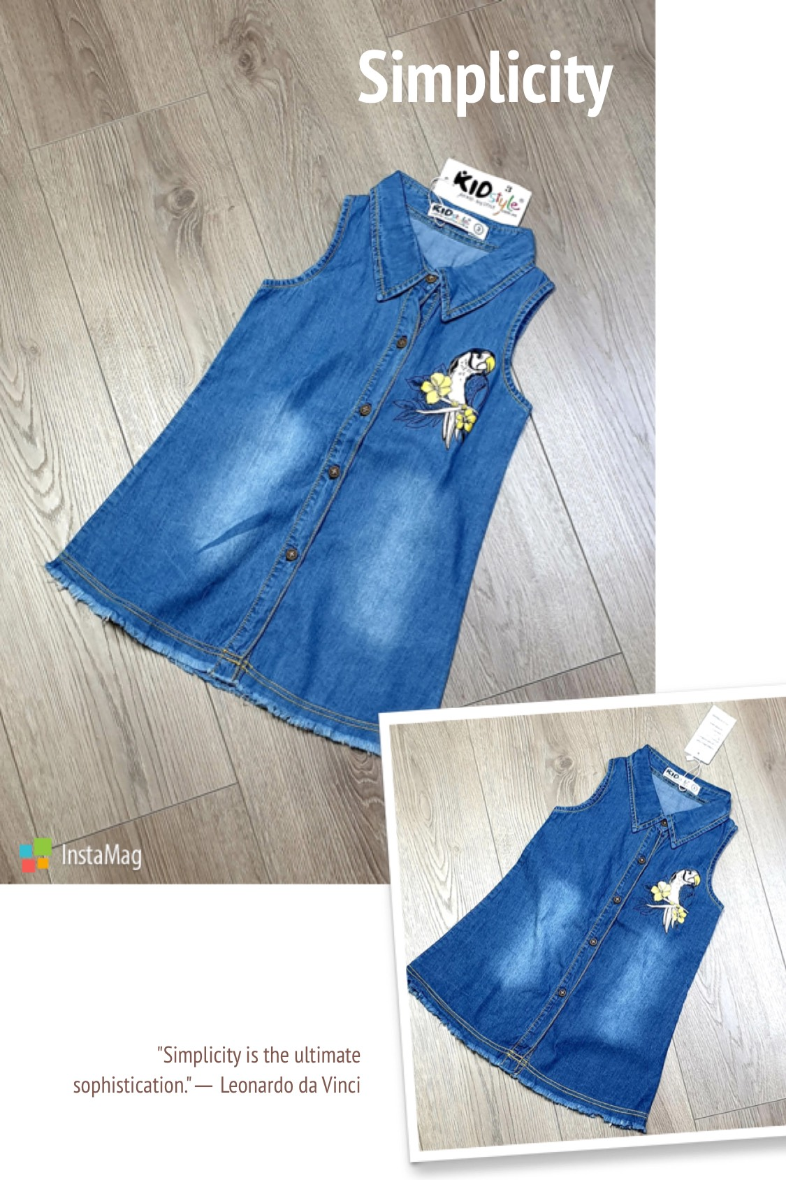 Đầm jean KIDSTYLE Style Đầm Sơmi- in Con Vẹt. Chất jean cotton đẹp- Form lớn  Size: 1-8 Size: 9-14