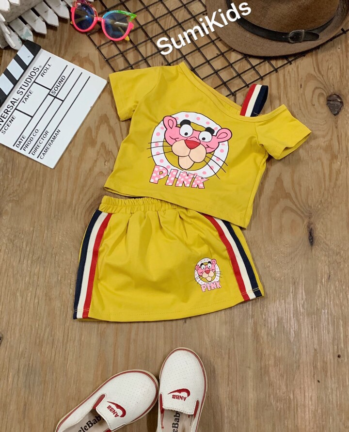 BG180901-set chân váy báo hồng