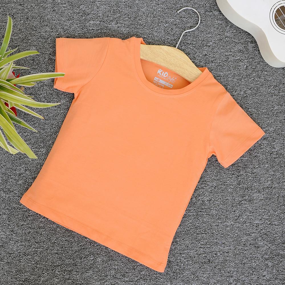 Áo thun trơn cổ tròn tay ngắn màu cà rốt nhạt