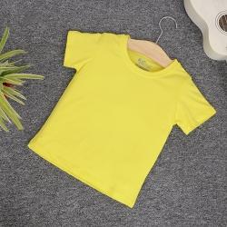 Áo thun trơn cổ tròn tay ngắn màu vàng chanh