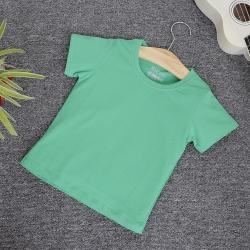 Áo thun trơn cổ tròn tay ngắn màu xanh lá