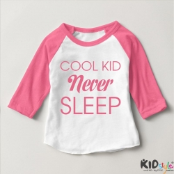 Áo thun trẻ em ráp lăng tay 3/4 in Cool Kid Never Sleep (4 màu)