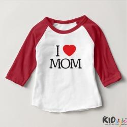 Áo thun trẻ em ráp lăng tay 3/4 in I Love Mom (4 màu)