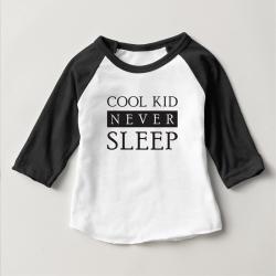 Áo thun trẻ em ráp lăng tay 3/4 in Cool Kid Never Sleep đẹp (4 màu)