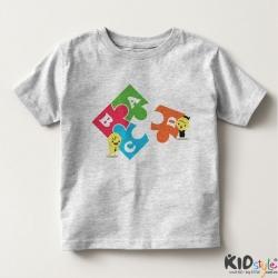 Áo thun trẻ em in chữ cái ABCD tách đen
