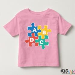 Áo thun trẻ em in chữ cái ABCD vuông đen