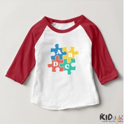 Áo thun trẻ em ráp lăng tay 3/4 in chữ cái ABCD vuông (4 màu)