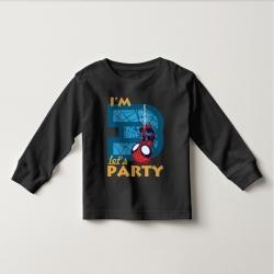 Áo thun tay dài in Spiderman 2 tuổi ngược đen