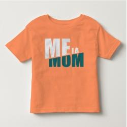TNF6906- Áo thun trẻ em tay ngắn in chữ Mẹ Là Mom màu  cà rốt nhạt