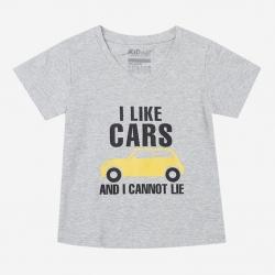Áo thun cổ tròn tay ngắn in chữ I Like Car