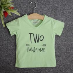 VNE7213 - Áo thun trẻ em cổ tim tay ngắn in chữ Two Handsome (Xanh bơ)