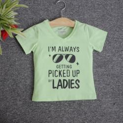 VNE7013 - Áo thun trẻ em cổ tim tay ngắn in chữ I'm Always Getting Picked Up By Lady (Xanh bơ)