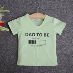 VNF7013 - Áo thun trẻ em cổ tim tay ngắn in chữ Dad To Be (Xanh bơ)