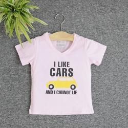 VNE7109 - Áo thun trẻ em cổ tim tay ngắn in chữ I Like Car (Hồng phấn)