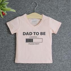 VNF7007 - Áo thun trẻ em cổ tim tay ngắn in chữ Dad To Be (Hồng cam)