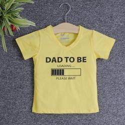 VNF7010 - Áo thun trẻ em cổ tim tay ngắn in chữ Dad To Be (Vàng)