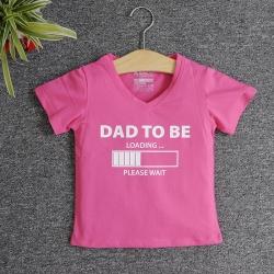 VNF7008 - Áo thun trẻ em cổ tim tay ngắn in chữ Dad To Be (Hồng sen)