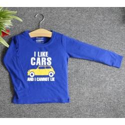 TDE7120 - Áo thun trẻ em cổ tròn tay dài in chữ I Like Car (Xanh bích)