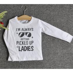 TDE7001 - Áo thun trẻ em cổ tròn tay dài in chữ I'm Always Getting Picked Up By Ladies (Trắng)