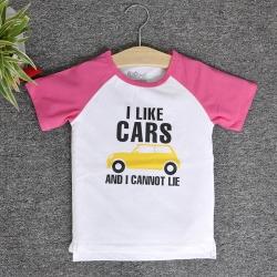 RNE7123 - Áo Raglan tay ngắn in chữ I Like Car ( Hồng Sen )