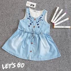 DJ00095 Đầm jean bé gái thêu hoa 1-8