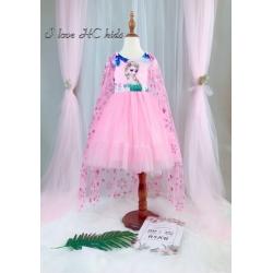 DG250702 - Váy công chúa elsa kèm áo choàng