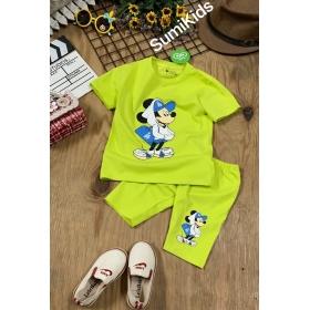 BG2160401-bộ thun quần ngố Mickey nón