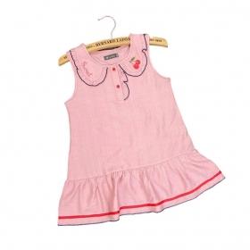 Đầm tơ sọc cổ viền bèo-DG2030601