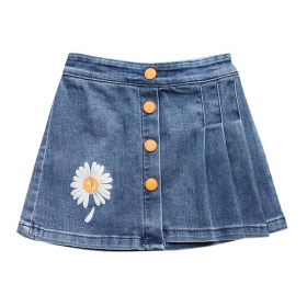 Váy jean xếp ly in hoa cúc-VG2070901