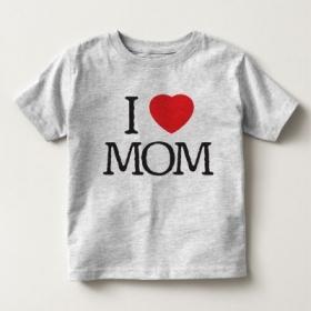 Áo thun trẻ em in I Love Mom (4 màu)