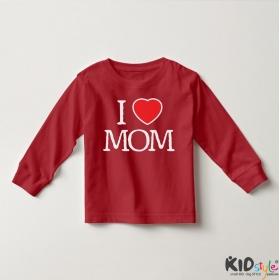 Áo thun tay dài in I Love Mom (4 màu)