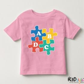 Áo thun trẻ em in chữ cái ABCD vuông (4 màu)