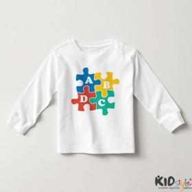 Áo thun tay dài in chữ ABCD vuông (4 màu)