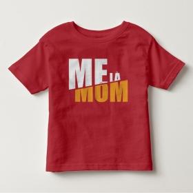 TNF6904- Áo thun trẻ em tay ngắn in chữ Mẹ Là Mom màu đỏ đậm