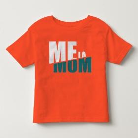 TNF6905- Áo thun trẻ em tay ngắn in chữ Mẹ Là Mom màu đỏ đậm cam cà rốt