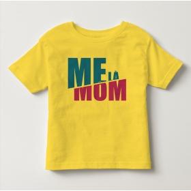 TNF69010- Áo thun trẻ em tay ngắn in chữ Mẹ Là Mom màu Vàng