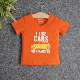 TNE7105 -  Áo thun cổ tròn tay ngắn in chữ I Like Car (Màu cam cà rốt)