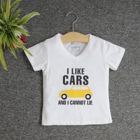 TNE7101 -  Áo thun cổ tròn tay ngắn in chữ I Like Car (Màu trắng)