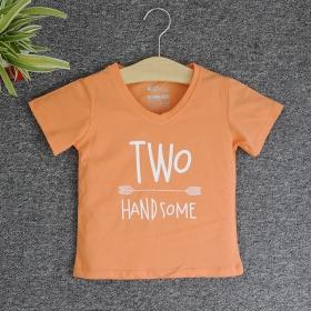 TNE7206 -  Áo thun cổ tròn tay ngắn in chữ Two Handsome ( Màu cà rốt nhạt)