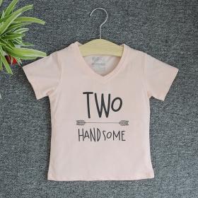 TNE7207 -  Áo thun cổ tròn tay ngắn in chữ Two Handsome ( Màu hồng cam)