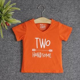 TNE7205 -  Áo thun cổ tròn tay ngắn in chữ Two Handsome ( Màu cam cà rốt)