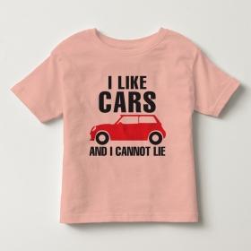 TNE7107 -  Áo thun cổ tròn tay ngắn in chữ I Like Car (Màu hồng cam)