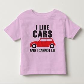 TNE7109 -  Áo thun cổ tròn tay ngắn in chữ I Like Car (Màu hồng phấn)