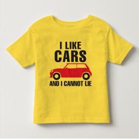 TNE7110 -  Áo thun cổ tròn tay ngắn in chữ I Like Car (Màu vàng)
