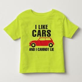 TNE7111 -  Áo thun cổ tròn tay ngắn in chữ I Like Car (Màu vàng chanh)
