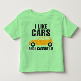 TNE7113 -  Áo thun cổ tròn tay ngắn in chữ I Like Car (Màu xanh bơ)