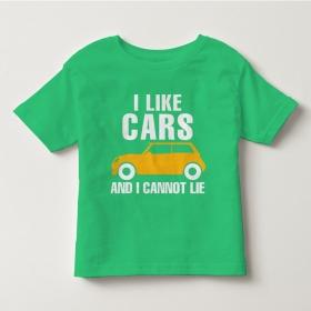 TNE7112 -  Áo thun cổ tròn tay ngắn in chữ I Like Car (Màu xanh lá)