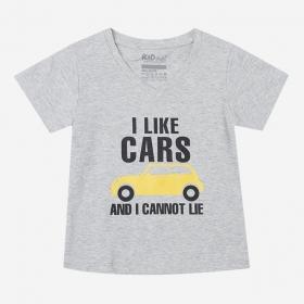 TNE7103 -  Áo thun cổ tròn tay ngắn in chữ I Like Car (Màu xám)