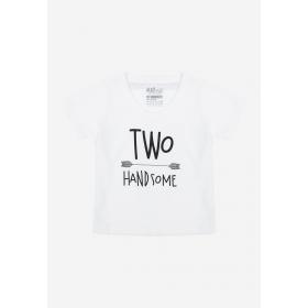 TNE7201 - Áo thun cổ tim tay ngắn in chữ Two Handsome ( Màu trắng)